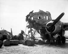 Wreckage of a C-54 destroyed on the ground by KPAF fighters on 25 June 1950