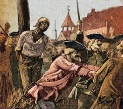 African American slave being burned at the stake after New York Conspiracy of 1741 17 black men, two white men, and two white women were hanged at the gibbet next to the Powderhouse on the narrow point of land between the Collect Pond and the Little Collect, 13 were burned at the stake a little east on Magazine Street[14][15]
