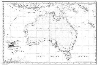 Freycinet Map of 1811 – resulted from the 1800–1803 French Baudin expedition to Australia and was the first full map of Australia ever to be published. In French, the map named the ocean immediately below Australia as the Grand Océan Austral ('Great Southern Ocean').