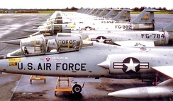 331st Fighter-Interceptor Squadron Lockheed F-104A-15-LO Starfighters Webb AFB, Texas, February 1964. Aircraft shown TDY At Homestead AFB, Florida. Serials identified are 56-784 56-882 56-834