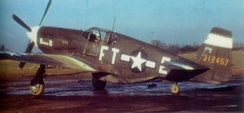 North American P-51B-1-NA Mustang 43-12457 of the 353d Fighter Squadron 354th Fighter Group at RAF Lashenden in 1944.