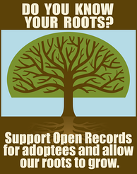Open Records emblem used in Adoptee Rights Protest, New Orleans, 2008, artist: D. Martin