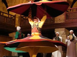 Tanoura dancer performing in Wekalet El Ghoury, Cairo.