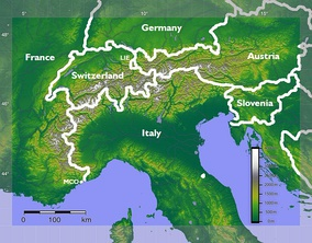 The Alps extend in an arc from France in the south and west to Slovenia in the east, and from Monaco in the south to Germany in the north.