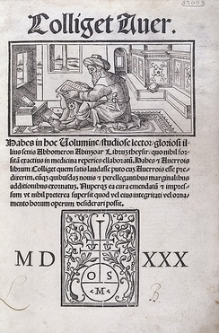 "A title page of a Latin book ""Colliget Aver."""