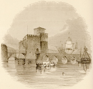 The Venetian tower and bridge over the Euripus, in the 19th century