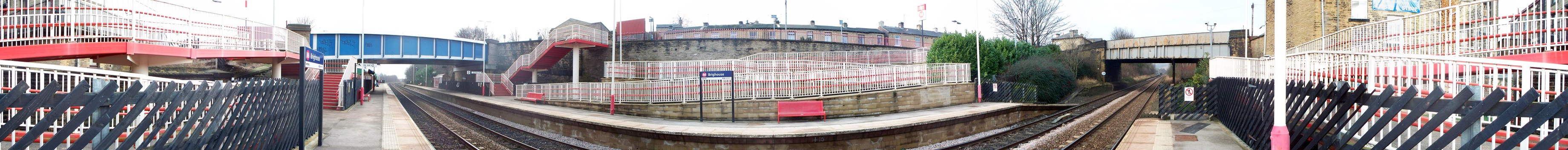 Panorama of Brighouse station in February 2009