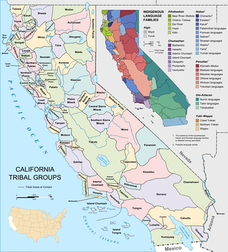 Indigenous ethnic and (inset) linguistic groups of California prior to European arrival.