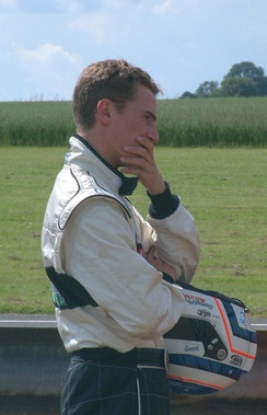 Kerr after crashing out of an F3 race at Castle Combe in 2002.