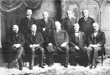 Cleveland's last Cabinet. Front row, left to right: Daniel S. Lamont, Richard Olney, Cleveland, John G. Carlisle, Judson Harmon  Back row, left to right: David R. Francis, William Lyne Wilson, Hilary A. Herbert, Julius S. Morton