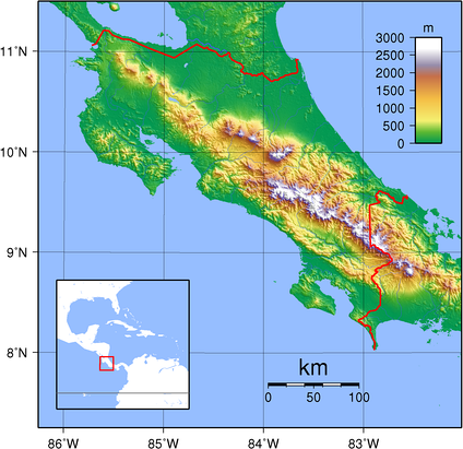 Topography of Costa Rica, where votic and other versions of Chibcha are spoken