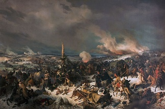 The retreat across the Berezina of the remnants of Napoleon's Grande Armée in November 1812