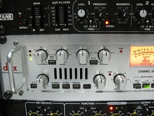 Electronic audio compression devices, such as this DBX 566, are used by audio engineers to prevent signal peaks from causing unwanted distortion.