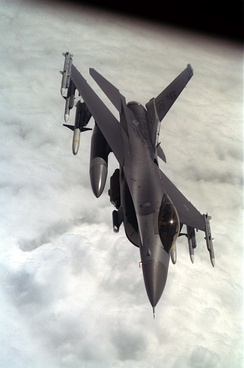An F-16CJ Fighting Falcon of the 52nd Fighter Wing after refueling with a KC-135R Stratotanker.