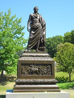 Clinton Memorial by Henry Kirke Brown, 1855, at Green-Wood Cemetery, Brooklyn, New York.