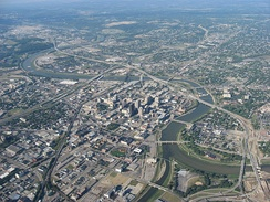 Aerial view of Downtown Dayton (NE to SW)