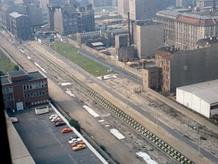 "East Berlin ""death strip"" of the Berlin Wall, as seen from the Axel Springer AG Building, 1984."