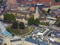 Aerial view showing Nuffield College and Castle Mound