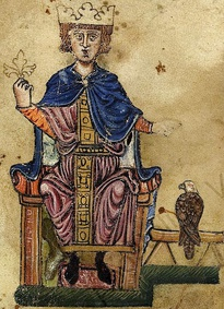"Portrait of Frederick II from the ""Manfred manuscript"" (Biblioteca Vaticana, Pal. lat 1071) of De arte venandi cum avibus."