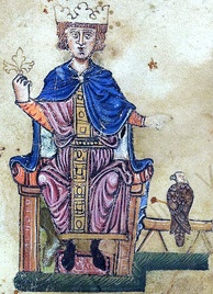 Frederick II with his falcon, from De arte venandi cum avibus, c. 1240, Vatican Library