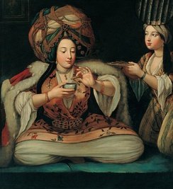 Enjoying coffee, painting by unknown artist in the Pera Museum