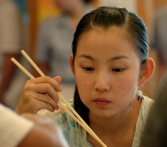 Girl with chopsticks