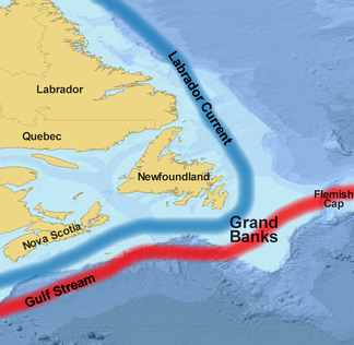 Map showing the Grand Banks
