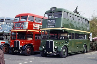 These AEC Regent III RT buses are fitted with radiator blinds, seen here covering the lower half of the radiators.