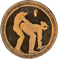 Customer and a prostitute illustrated on an ancient Greek wine cup; an act of prostitution is indicated by the coin purse above the figures