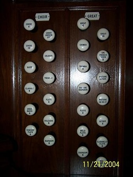 On these organ stops, some of the knobs have numbers indicating the length in feet of the longest (the lowest note) organ pipe of the stop
