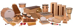 A selection of instruments used in the Orff music education method.