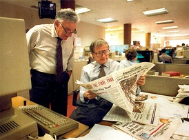 Bill German,left, the Chronicle's editor emeritus and Page One Editor Jack Breibart in the newsroom, March 1994