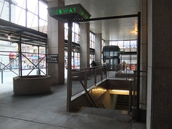 An entrance to the Jay Street–MetroTech subway complex within the arcade of 370 Jay Street.