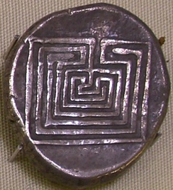 "Silver coin from Knossos displaying the 7-course ""Classical"" design to represent the Labyrinth, 400 BC."