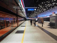 The Helsinki Metro with its characteristic bright orange trains is the world's northernmost subway
