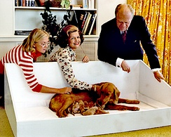 Susan, Betty and President Gerald Ford with Liberty and her puppies at the White House in 1975