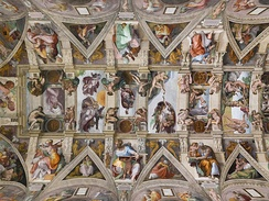 Michelangelo's ceiling in the Sistine Chapel.