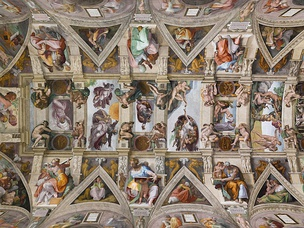 The Renaissance period was a golden age for Catholic art. Pictured: the Sistine Chapel ceiling painted by Michelangelo