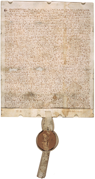 1297 version of the Great Charter, on display in the National Archives Building in Washington, D.C.