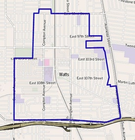 Map of Watts as delineated by the Los Angeles Times