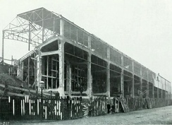 The concrete Midland Road stand for Bradford City Football Club nearing completion in 1908.[14]