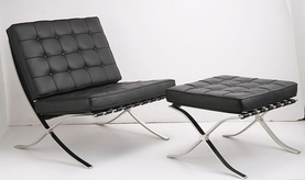 The Barcelona Chair, by Ludwig Mies van der Rohe; Mies, a close friend and mentor to Florence Knoll, during her time at the Illinois Institute of Technology, formally granted Knoll the production rights to the Barcelona Chair and Stool in 1953. The designs immediately became a signature of the Knoll brand and have been built to Mies van der Rohe's exacting standards ever since.