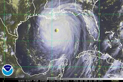 Hurricane Katrina approaching the Gulf Coast on August 28, 2005