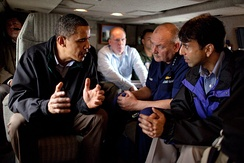 U.S. President Barack Obama talks with Louisiana Governor Bobby Jindal and U.S. Coast Guard Commandant Admiral Thad Allen in May 2010.