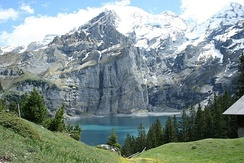 Oeschinen Lake in the Swiss Alps