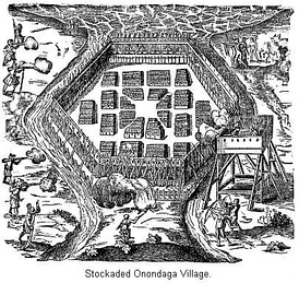 Sketch by Samuel de Champlain of his attack on an Onondaga village.