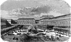 Palais Royal Gardens: Illustration, from an 1863 guide to Paris, enlarges the apparent scale. Modern planting maintains the lawn, fountains, and trees.