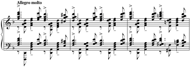 The cadenza of Piano Concerto No. 3 is famous for its grand chords.