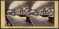 Stereoscopic image of the picture gallery at the Metropolitan Fair of 1864 held in New York State