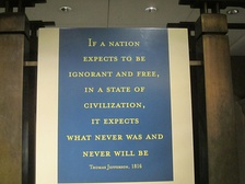 "Jefferson warns that a nation cannot be ""ignorant and free."""